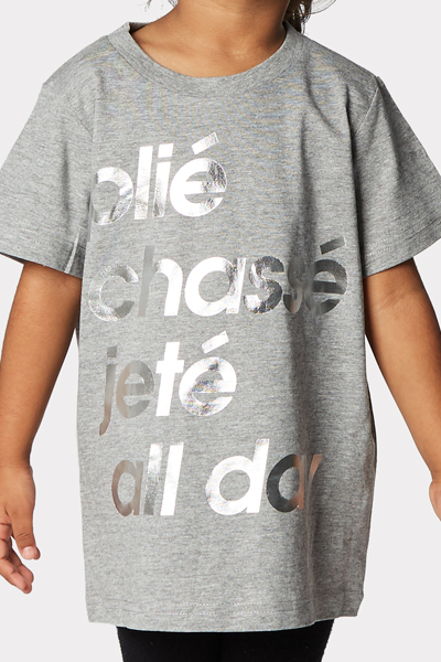 631a92c76f46 Our popular 'Plié' t-shirt is finally available for kids. Team with our  Pink Kids Tutu. Silver foil text on grey marle t-shirt. Unisex
